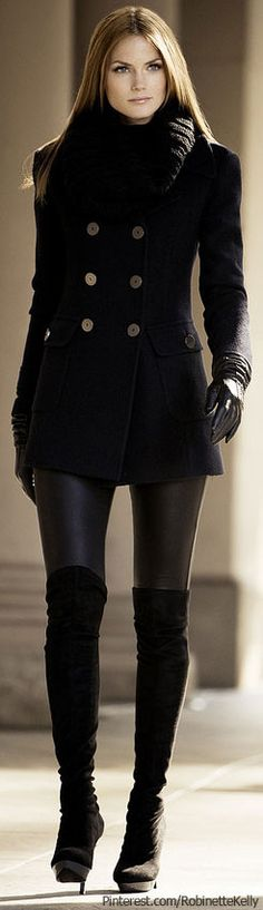 Sleek and chic - leather look leggins, high boots and a tailored jacket.