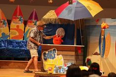 Skipper (your leader for assembly time) and Snappy the Crab Puppet will have a blast at Surf Shack VBS! Notice the use of a beach umbrella! Way to add lots of color and fun to any scene!! cokesburyvbs.com