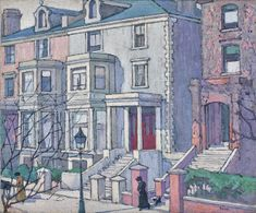Bevan, Robert Polhill   sotheby's  1865 - 1925 HOUSES IN SUNLIGHT  painted in 1915 North London street scene