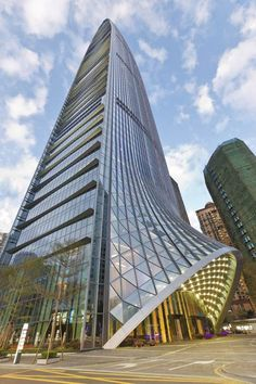 Completed at the end of 2011, the financial office tower was designed with a curving glass body and pointed tip.
