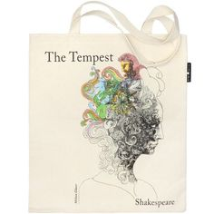 A double sided tote bag featuring artwork from celebrated designer Milton Glaser. One side shows his design for Hamlet and the other a representation of The Tempest. Bag dimensions 33 x 39 cm; The Tempest Shakespeare, William Shakespeare, Shopping Bag Design, Shopping Bags, Milton Glaser, Literary Gifts, Beautiful Bags, Cotton Canvas, Reusable Tote Bags