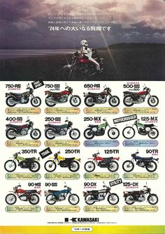 """750RS,most famous machine in japan who called """"Zettsu""""(Z2) KAWASAKI all line up 1973"""