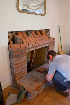 Domestic Fashionista - Creative Homemaking for the Modern Day Woman Reface Brick Fireplace, Build A Fireplace, Brick Masonry, Home Fireplace, Fireplace Design, Fireplace Mantels, Brick Mailbox, Barbecue Design, Rearranging Furniture