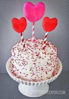 Pink Velvet Valentine's Day Cake.  #Valentines