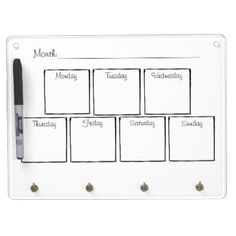 #Weekly To-Do Calendar Dry Erase Board With Keychain Holder - #saturday #saturdays