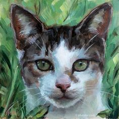 """Daily+Paintworks+-+""""Kitten+in+the+Grass""""+-+Original+Fine+Art+for+Sale+-+©+J.+Dunster"""