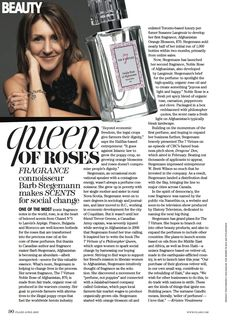 As seen in Flare Magazine - Article on our story of doing trade with nations that are rebuilding to create our fragrance collection -