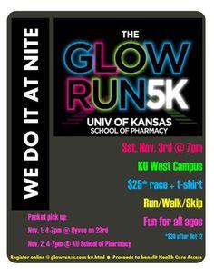 Lawrence Glow Run Glow Run, School Fundraisers, A Way Of Life, Activity Ideas, College Life, Sorority, Walks, Fundraising, Clinic