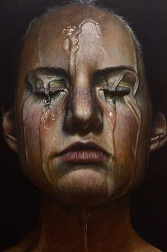 """Offering"" - Erica Elan Ciganek (b. 1991), oil on wood, 2015 {figurative realism art beautiful female head dripping water woman face portrait hyperreal painting #loveart #2good2btrue} ericaelanciganek.com"