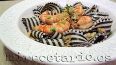 Lingua cebra en salsa de gambas {Pasta} - mirecetario.es