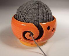 Yarn Bowl in Tangerine Orange Glaze  thrown by KaransPotsAndGlass, $31.00
