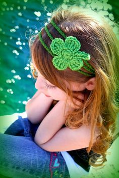 Adorable way to NOT get pinched on St Pattys Day!! Irish Girl Shamrock Crochet Headband Adjustable by PurdyThings, $14.00