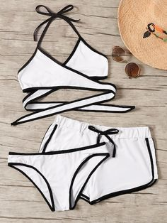 To find out about the Contrast Piping Wrap Halter Bikini Set at SHEIN, part of our latest Bikinis ready to shop online today! Trendy Swimwear, Cute Swimsuits, Romwe Swimwear, Swimwear Sale, Halter Bikini, Bikini Set, Bikini Swimwear, Cute Bathing Suits, Outfit Trends