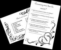 Des jeux questionnaires peuvent divertir vos invités entre les services Questionnaires, Monsieur Madame, Coupon, Bullet Journal, Projects, Gaming, Weddings, Coupons