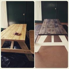 Before and after, $90 picnic table from home depot, stain and paint, awesome lanai table and seating!