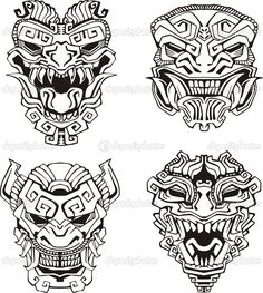 Find Aztec Monster Totem Masks Set Black stock images in HD and millions of other royalty-free stock photos, illustrations and vectors in the Shutterstock collection. Inka Tattoo, Hawaiianisches Tattoo, Mask Tattoo, Tattoo Motive, Samoan Tattoo, Tattoo Flash, Body Art Tattoos, Tattoo Drawings, Tribal Tattoos