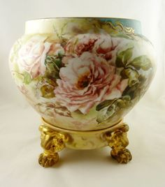 Limoges Jardiniere Vase Planter & Stand Hand Painted with Roses from 43chesapeakecourt on Ruby Lane