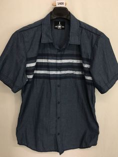 MENS XL SLIM IJEANS BY BUFFALO CASUAL SHIRT SHORT-SLEEVE CASUAL BUTTON-UP #IJEANS #ButtonFront
