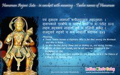 Know the meaning of sanskrit slok of Lord Hanuman comprising of twelve names of Lord Hanuman