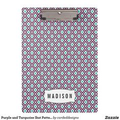 Purple and Turquoise Ikat Pattern Monogram Clipboards