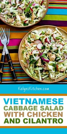 Vietnamese Cabbage Salad is perfect to make with leftover chicken, and I love the flavors in this spicy oil-free dressing! Salad Recipes Low Carb, Best Low Carb Recipes, Best Salad Recipes, Spinach Recipes, Salad Dressing Recipes, Spinach Salads, Sausage Recipes, Salad Dressings, Free Recipes