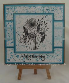 Tinyrose's Craft Room: Birthday Card made with the Going to Seed stamp by Woodware