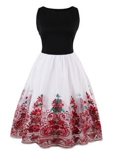 4ab500ace35 Vintage Embroidered Flare Dress - RED XL Ladies Day Dresses
