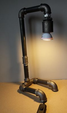 Industrial small lamp desk lamp bulb included by QbaB on Etsy