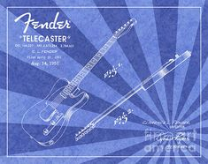 1951 Fender Telecaster Guitar Patent Art in White on Blue Ray Pattern Background. Patent Awarded to Clarence L. Fender.