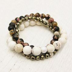 Pyrite & White Turquoise Magnesite Bead Bracelet Set / by byjodi, $70.00