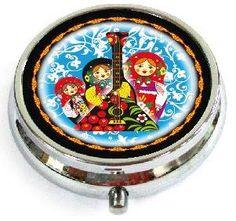 "Souvenir Case for Tablets/Pills ""Palekh. Matryoshka with balalaika""/30CHE-34-276M"