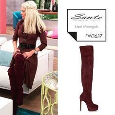 Eleni Menegaki (@elenimenegaki) in SANTE Over the Knee Boots styling by Georgia Sinacheri (@sinacheri) #SanteFW1617 #CelebritiesinSante Available in stores & online (SKU-94561): www.santeshoes.com Over The Knee Boots, Fashion Boots, Georgia, Harem Pants, Fall Winter, My Style, Celebrities, Collection, Shoes