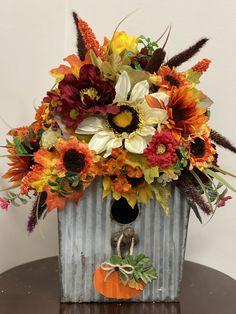 Fall bird house centerpiece Centerpieces, Wreaths, Bird, Fall, Flowers, Gifts, House, Home Decor, Autumn