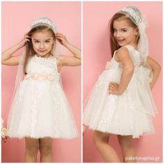 Βαπτιστικό Φόρεμα Λευκό Ροζ Mi Chiamo K4291 Kid Dresses, Flower Girl Dresses, Christening, Girl Outfits, Wedding Dresses, Kids, Clothes, Fashion, Baby Clothes Girl
