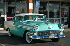1956 Chevrolet Bel Air Sport Coupe - White & Pinecrest green - fvr by Pat Durkin - Orange County, CA, via Flickr