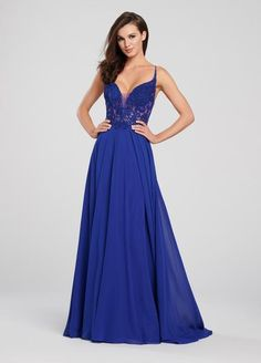 Ellie Wilde - Sleeveless Beaded Bodice Chiffon A-Line Gown Mermaid Prom Dresses Lace, Lace Dress, Lace Bodice, Prom Dresses With Pockets, Royal Blue Dresses, A Line Gown, Chiffon Skirt, Special Occasion Dresses, Dresses For Sale
