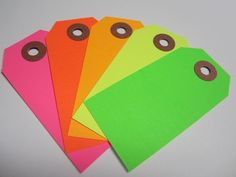 25 Neon / Fluorescent Tags - Pick Your Color Mix. $2.99, via Etsy.