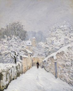 Snow at Louveciennes - Sisley, Alfred (French, 1839 - Fine Art Reproductions, Oil Painting Reproductions - Art for Sale at Galerie Dada French Impressionist Painters, Impressionist Landscape, Post Impressionism, Impressionist Paintings, Landscape Paintings, Pierre Auguste Renoir, Edouard Manet, Winter Painting, Winter Art