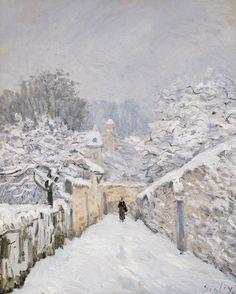 """Nieve de Louveciennes"" (1878)- Alfred Sisley (Impresionismo) (Francia) (1839-1899)"