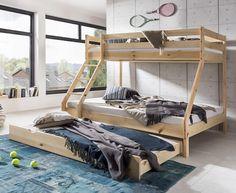 Stor lækker Moderno Family køjeseng med plads til 4 personer, komplet med madrasser og stor underskuffe