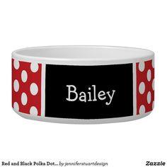 Red and Black Polka Dots Monogram Bowl Pet Bowls, Dog Gifts, Diy Face Mask, Dog Design, Polka Dots, Monogram, Clock, Fancy, Red