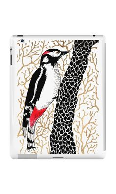 """Woodpecker, forest bird, watercolor & ink sketch"" iPad Cases & Skins by ptitsa-tsatsa 