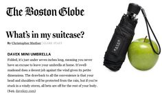 Davek Mini in The Boston Globe. You never have an excuse to leave your umbrella at home.