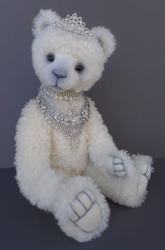 """One&Only""Bears~ Tatiana - White Winter Princess Bear by Artist Michelle Lamb 