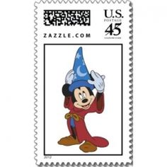 Mickey Mouse in Sorcerer's Rob by disneyMake your own postage stamps at Zazzle    Are you a Disney fanatic? Who doesn't love such characters as...