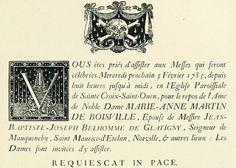 18th Century Funeral Announcement    From Les Menus & Programmes Illustrés - Invitations - Billets de Faire-Part - Cartes d'Adresses - Petites Estampes du XVIIème Siècle jusqu'à nos jours.    By Léon Maillard. Published 1898 by G. Boudet, Paris.