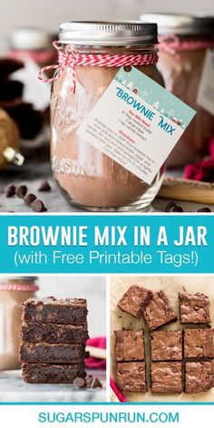 An easy Homemade Brownie Mix recipe! Just a handful of basic ingredients and you can have a jar in your pantry ready to go at all times (this is also an easy recipe to whip up in a pinch)! Make it for yourself, or give as a sweet gift this holiday season. Recipe includes printable gift tags/instructions and a how-to video!