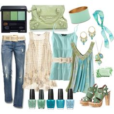 Not feeling the purse or the solid teal shirt, but I love the rest of this polyvore creation