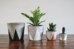 Concrete again! Painted Concrete Planter, from Fox & Ramona Concrete Pots, Concrete Crafts, Large Planters, Concrete Projects, Concrete Planters, Diy Planters, Flower Vases, Flower Pots, Flowers