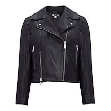 Buy Whistles Leather Cara Cropped Jacket, Black Online at johnlewis.com